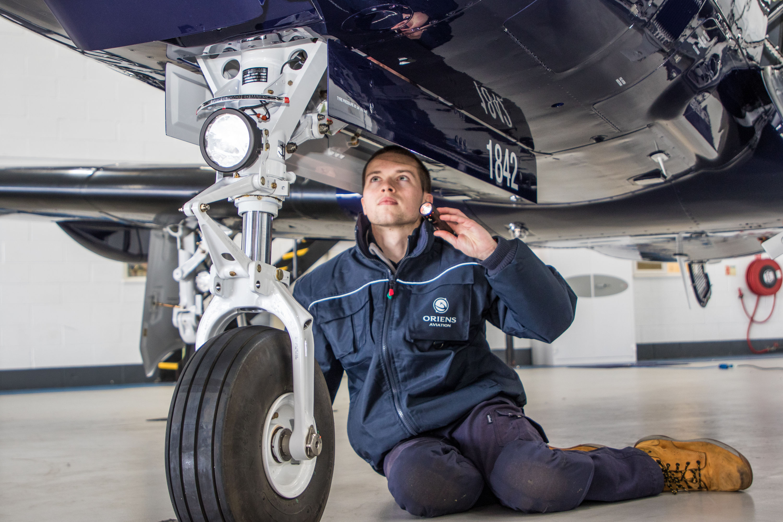 A_young_engineer_at_work_at_BBGA_member_company_Oriens_Aviation_Pilatus_Service_Centre_at_London_Biggin_Hill_Airport